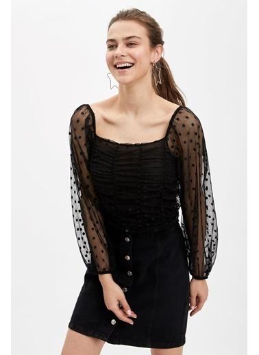 DeFacto Kol Detaylı Uzun Kollu Bluz Siyah